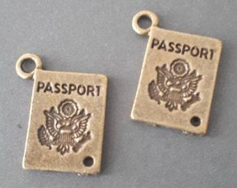 8pcs-2 loop Passport charm connector-bronze tone passport connector