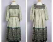 Vintage 1970's Lanz Boho Peasant Smock Floral Dress L/XL