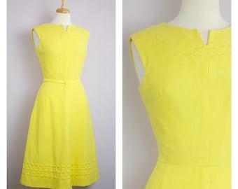 Vintage 1960's Pat Premo Yellow Sleeveless Princess Midi Dress M/L