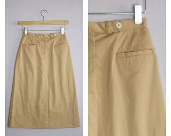 Vintage 1970's Tan High Waist Midi A Line Skirt XS/S
