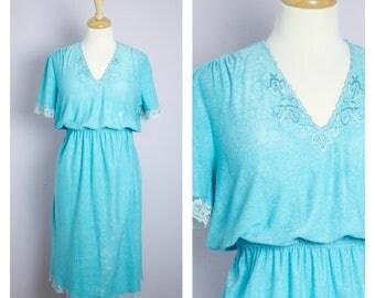 Vintage 1970's Aqua Blue V Neck Lace Trim Midi Dress M/L