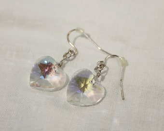 Clear Crystal Heart Dangle Earrings - Pierced