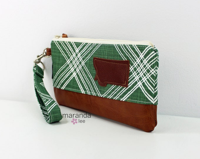 Flat Clutch - Colton Green with Montana Patch and PU Leather READY to SHIp