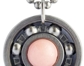 Pink Salmon Jade Roller Derby Skate Bearing Pendant Necklace