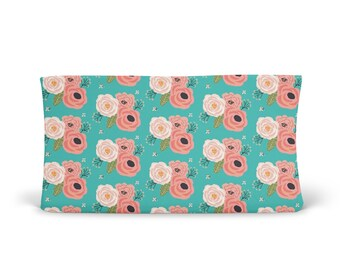 Changing Pad Cover Summer Floral Blooms Teal - Floral Changing Pad - Teal Changing Pad - Girl Changing Pad Cover - Minky Changing Pad
