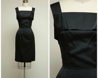 Vintage 1950s Dress • Public Affair • Black Satin 50s Cocktail Dress with Back Drape Size Small