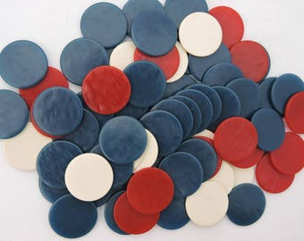 Lot of 72 Vintage 1950's Miniature Red, White, & Blue Plastic Poker Chips - Small Gaming Chip Tokens Markers