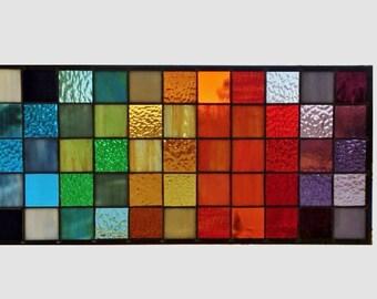 Stained glass window panel geometric rainbow squares stained glass panel window hanging modern abstract transom 0317 22 1/2 x 10 1/2