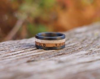 Wood Ring - Whiskey Barrel Wood, Carbon Fiber Band