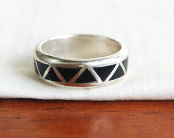 Black Chevron Ring Band Size 10 .25 Vintage Southwestern Sterling Silver Jet Mens Ring Gift for Him