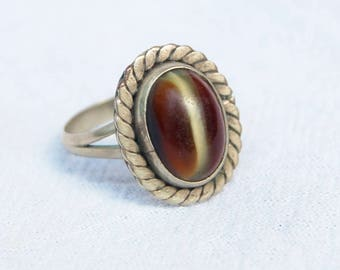 Vintage Mexican Ring Art Glass and Alpaca Oval Boho Jewelry Size 6 .75 Western Amber