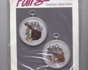 Musical Instruments Ornament Counted Cross-Stitch Kit with Frames