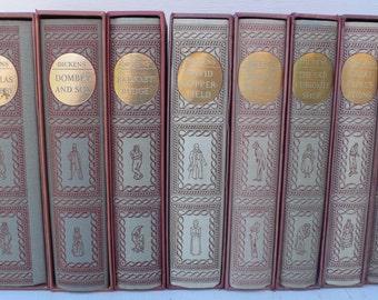 vintage books, Dickens, book decor, set of 8,slip jackets, library filler, from Diz Has Neat Stuff