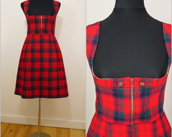 Bohemian VINTAGE Bavarian DIRNDL Red Tartan Plaid Check Scottish Dress Uk 10 Fr 38 Oktoberfest / Tyrol / Austrian / German/ Celtic/ Trachten