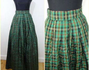 VINTAGE 1980s Retro Green Gold Tartan Plaid Check Evening Maxi Skirt UK 10 EU 38 / Party / Glam / Operatic / Metallic