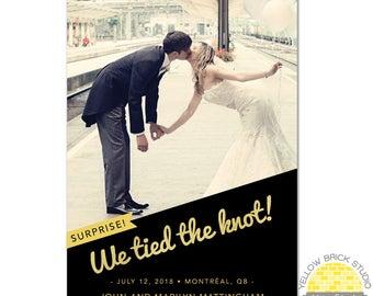 surprise elopement photo announcement glitter - diy printable file by YellowBrickStudio