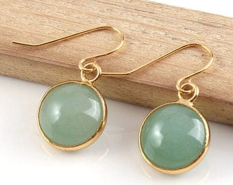Aventurine Gold Drop Earrings, Modern Minimalist Jewellery, Green Gemstone, Dangle Earrings, Simple Earrings