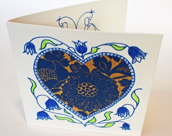 Handmade Valentines Card, handprinted with blue and gold hearts, flowers, love birds and decorative paper