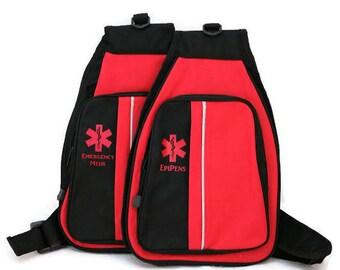 Sling Backpack / EpiPen Case / Emergency Medical Supply Case / Medicine Backpack / First Aid Backpack by Alert Wear