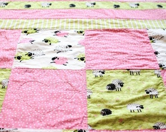 Baby Girl Heart Quilt, Lamb Crib Bedding, Modern Baby Nursery Quilt, Susybee Fabric Quilt, Pink Sheep Baby Blanket
