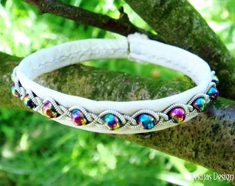 Lapland White Leather Viking Bangle | GJALL Rainbow Hematite Boho Bracelet | Handcrafted to Your Color and Size