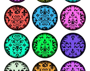 Damask Neon Printable 1-Inch Circles / Damask Pattern in Jewel Tones / Colorful Hues / Digital Collage / Bottlecap Images / Instant Download