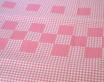 "Vintage Fabric - Pink and White Gingham - Apron/Skirt - 42""L x 35""W - 1950's - material - textile - sewing supply - Retro"
