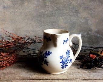 French Antique St.Vallier Stoneware Creamer. Small Off White Pitcher with Cobalt Blue Decor. French Country Ceramic Milk Jug.
