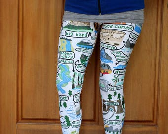 US National Parks Adult Size Leggings - Camping, NPS, Road Trip, Summer, Yellowstone, Adventure
