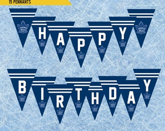 Maple leafs etsy instant download toronto maple leafs happy birthday banner printable toronto ice hockey banner kids bookmarktalkfo Images