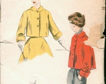 Great Vintage 1950s Vogue 7608 Easy to Make Cropped Flared Back Swing Jacket Sewing Pattern B36
