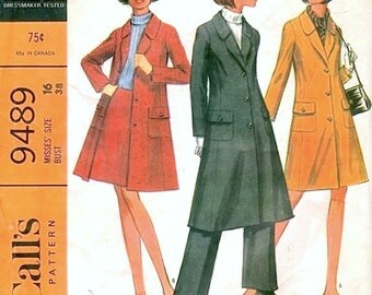 Fab Vintage 1960s McCall's 9489 Coordinated Coat, Pants Slacks and A Line Skirt Sewing Pattern B38