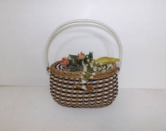 Vintage 1950s raffia basket handbag bag with plastic rose flower floral detail rockabilly retro