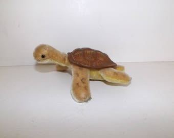 Vintage 1960s Steiff tortoise slo turtle mohair straw filled with button