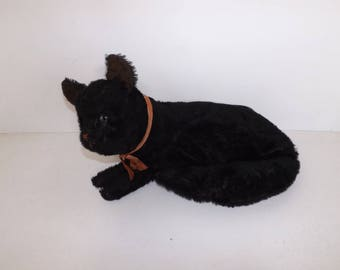 Vintage rare 1930s large black cat pyjama case soft toy mohair straw filled with red ribbon bow