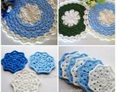 Crochet Pattern Set Crochet Patterns Placemat Pattern Crochet Coaster Pattern Blue Winter Placemat Set Round Placemat Coaster Home Decor
