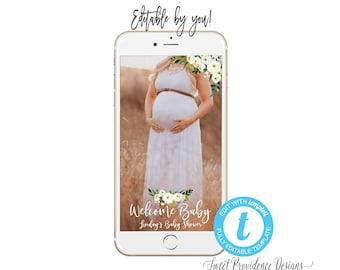 Baby Shower SNAPCHAT filter, Editable Geofilter, Welcome Baby Geofilter, Baby Shower filter, Snapchat filter, Templett, Instant Download