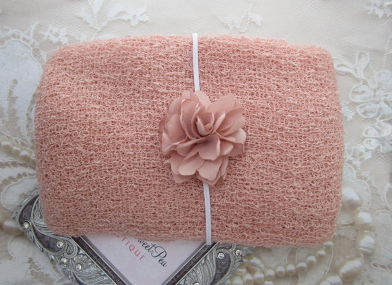 "Blush Stretch Knit Wrap AND/OR 2.5"" Satin Flower Skinny Elastic Headband, photo shoots, wrap set, newborn, bebe foto, by Lil Miss Sweet Pea"