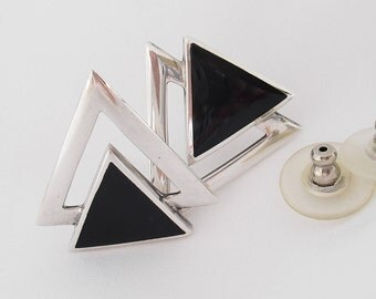 Sterling Silver Onyx Earrings - Artist Signed - 925 Modernist Triangles - Posts for Pierced Ears
