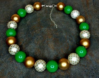Statement Necklace, Gumball Necklace, Green, Gold, White, Chunky Necklace, Green Necklace, Beaded Necklace, Polka Dot, Retro,
