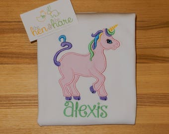 Unicorn Rainbow personalized custom made shirt or onesie choose colors customized name monogram initials embroidery applique present gift