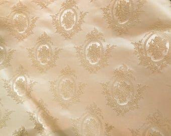 Vintage Ivory Brocade Home Decor Fabric