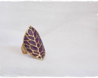 Crown Chakra Ring, Brass Statement Ring, Spirituality Ring, Brass Leaf Ring, Yoga Tribal Ring, Polymer Clay Ring, Bohemian Brass Ring