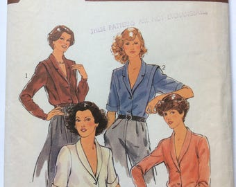 Style 2516 Vintage 70s Shawl Collar Shirt Blouse Sewing Pattern Bust 34 Long or Short Sleeves