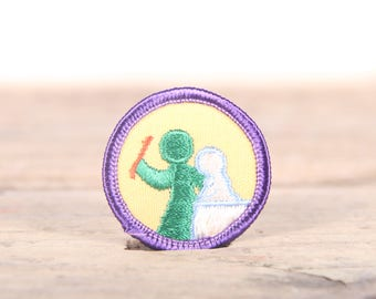 "Vintage Girl Scout Patch / 1970's-80's Scout Patch / Purple Yellow Old Stock Scout Patch / 1.5"" Girl Scouts Patch / Scout Badge"