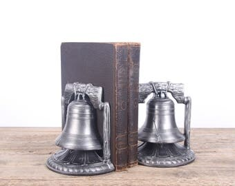 "Vintage 1974 Liberty Bell Bookends / 6 1/2"" tall Unique Bookends / Americana Decor / Office Decor / Silver Bookends Patriotic"