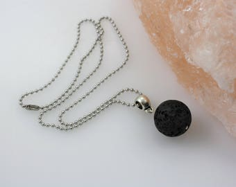 Minimalist Essential Oil Necklace - Aromatherapy Necklace - Diffuser Necklace - Mens Necklace - Mens Diffuser - Lava Stone Necklace - Simple