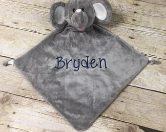 Personalized baby gifts etsy elephant blanket personalized baby gift personalized lovey embroidered elephant elephant lovey negle Gallery