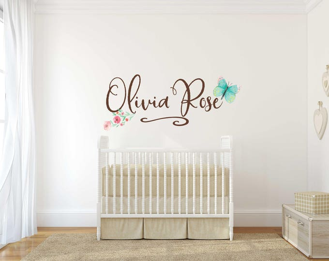 Farmhouse Girls Name Decals for Walls  // Butterfly Name Sign // Name Wall Decal // Nursery Decal // Removable and Reusable