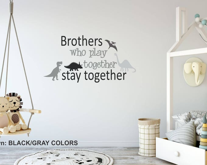Brothers Boys Name Wall Decal // Black/Gray Color Boy Nursery // Boys Decor // Customized Decal // Children's Wall Decor // Brothers Sign